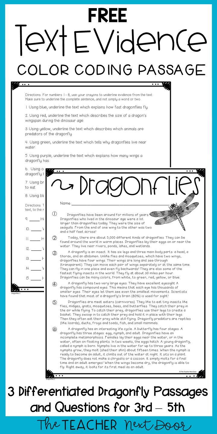 Text Evidence Worksheets 3rd Grade Text Evidence Color Coding Freebie