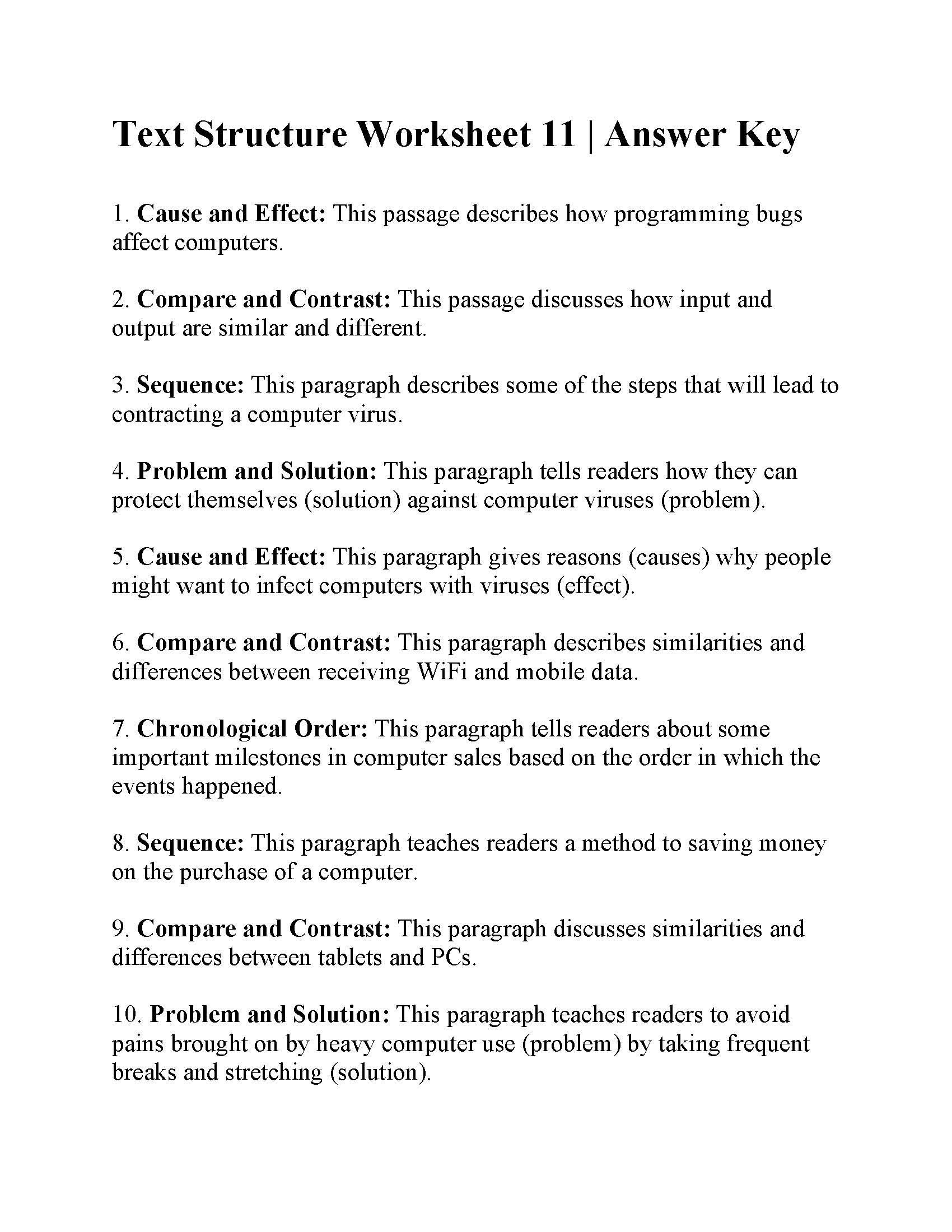 Text Structure 3rd Grade Worksheets Text Structure Worksheet Answers Worksheets for Play Group