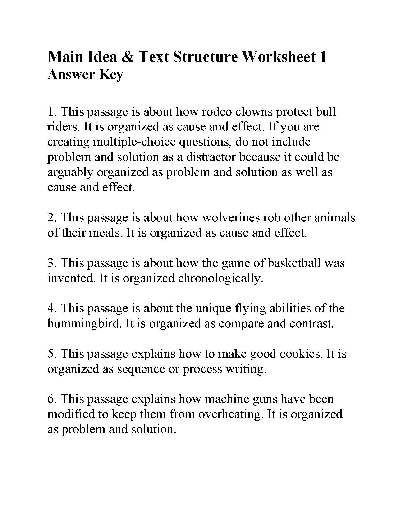 Text Structure 3rd Grade Worksheets This is the Answer Key for the Main Idea and Text Structure