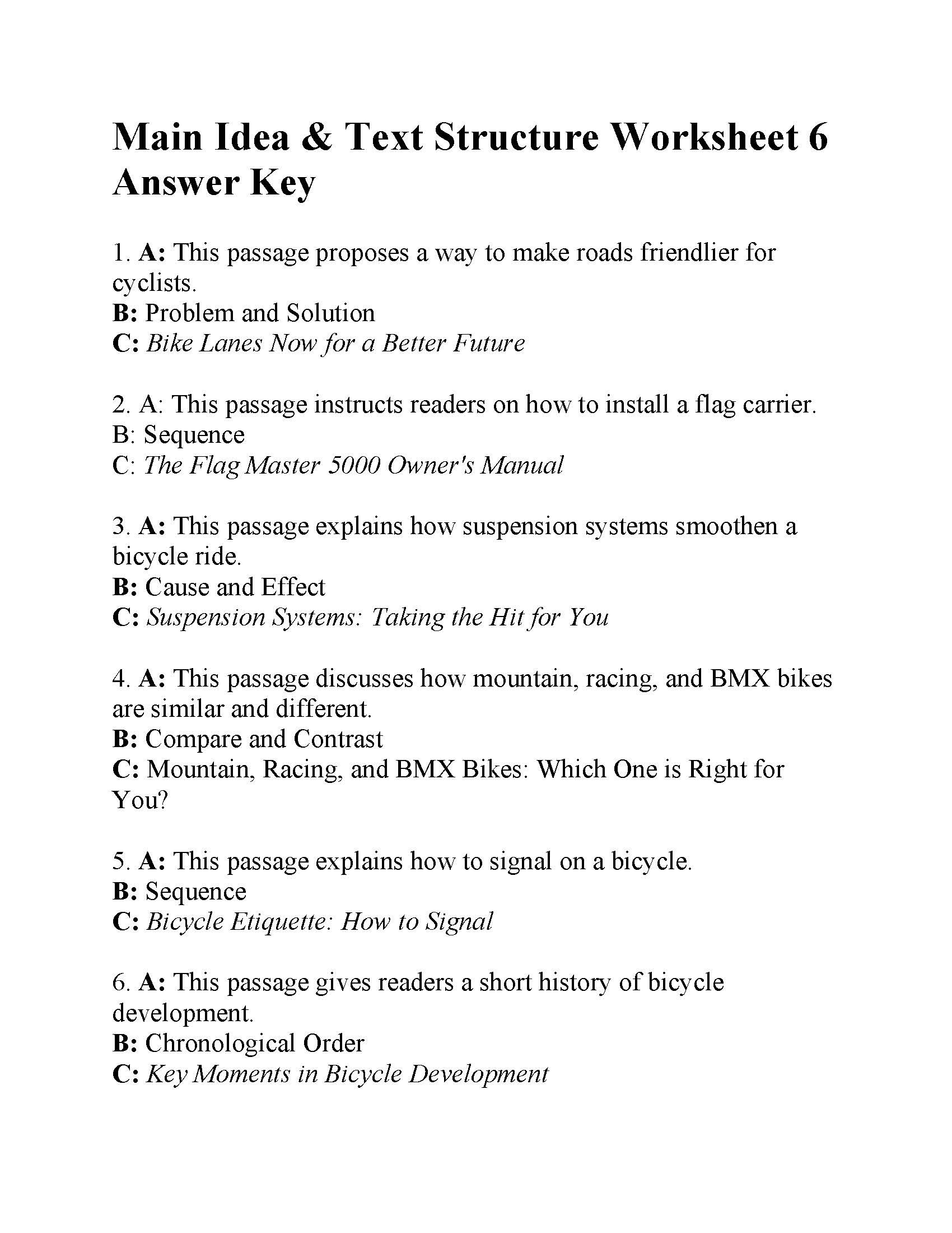 Text Structure Worksheets 4th Grade Main Idea and Text Structure Worksheet Answers Ereading
