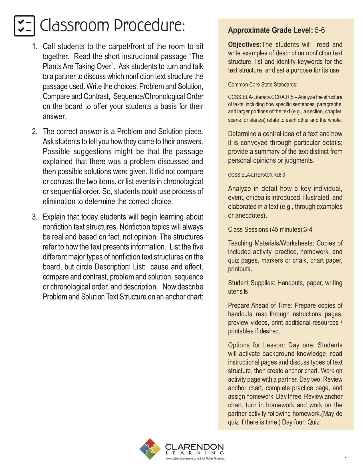 Text Structure Worksheets 4th Grade Problem and solution Nonfiction Text Structure