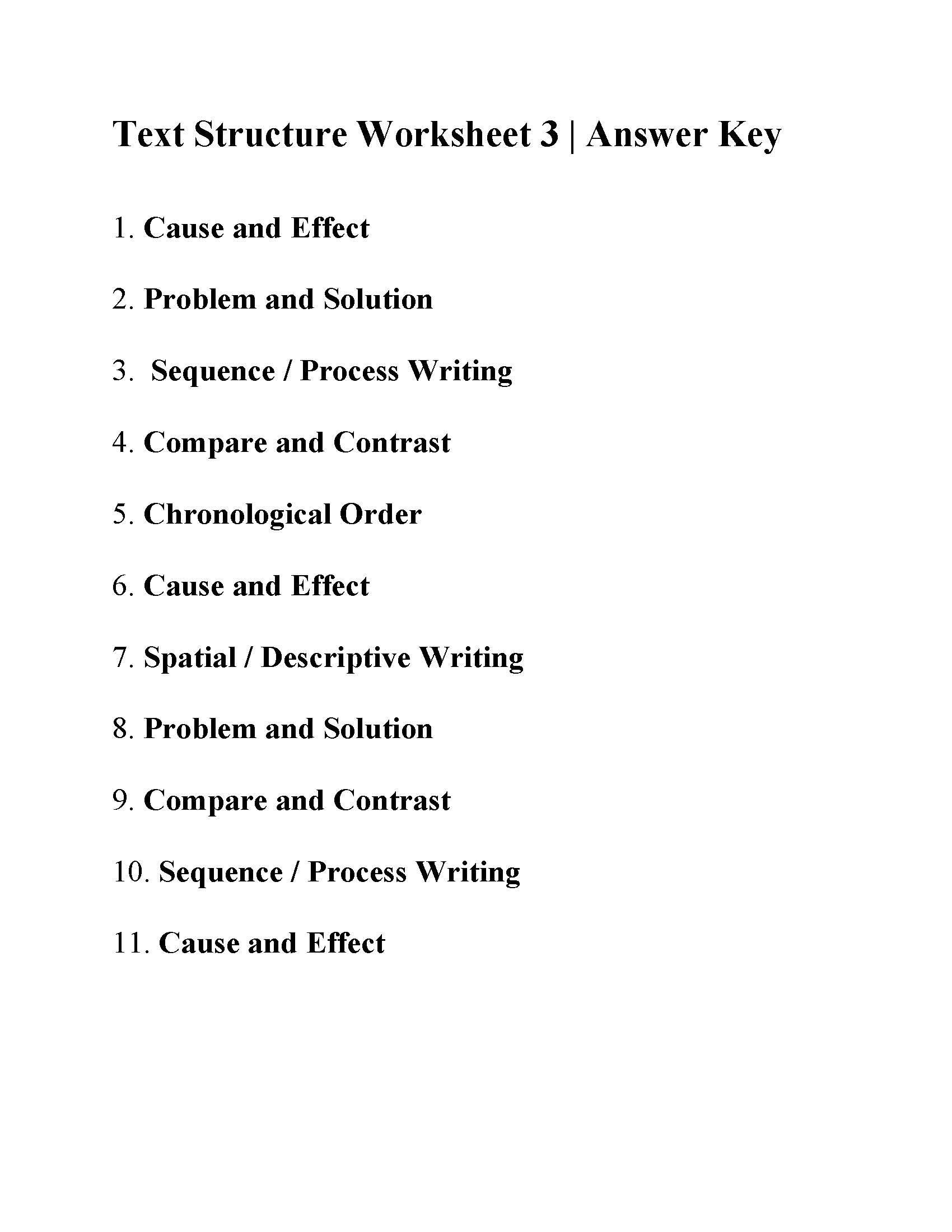Text Structure Worksheets 4th Grade This is the Answer Key for the Text Structure Worksheet 3