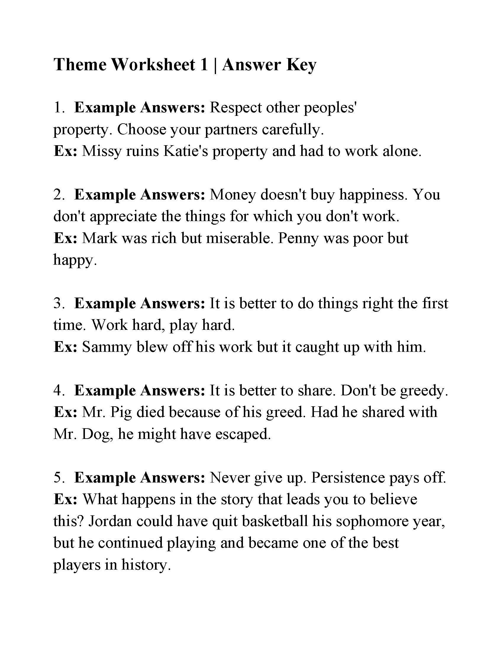 Theme Worksheets 5th Grade This is the Answer Key for the theme Worksheet 1