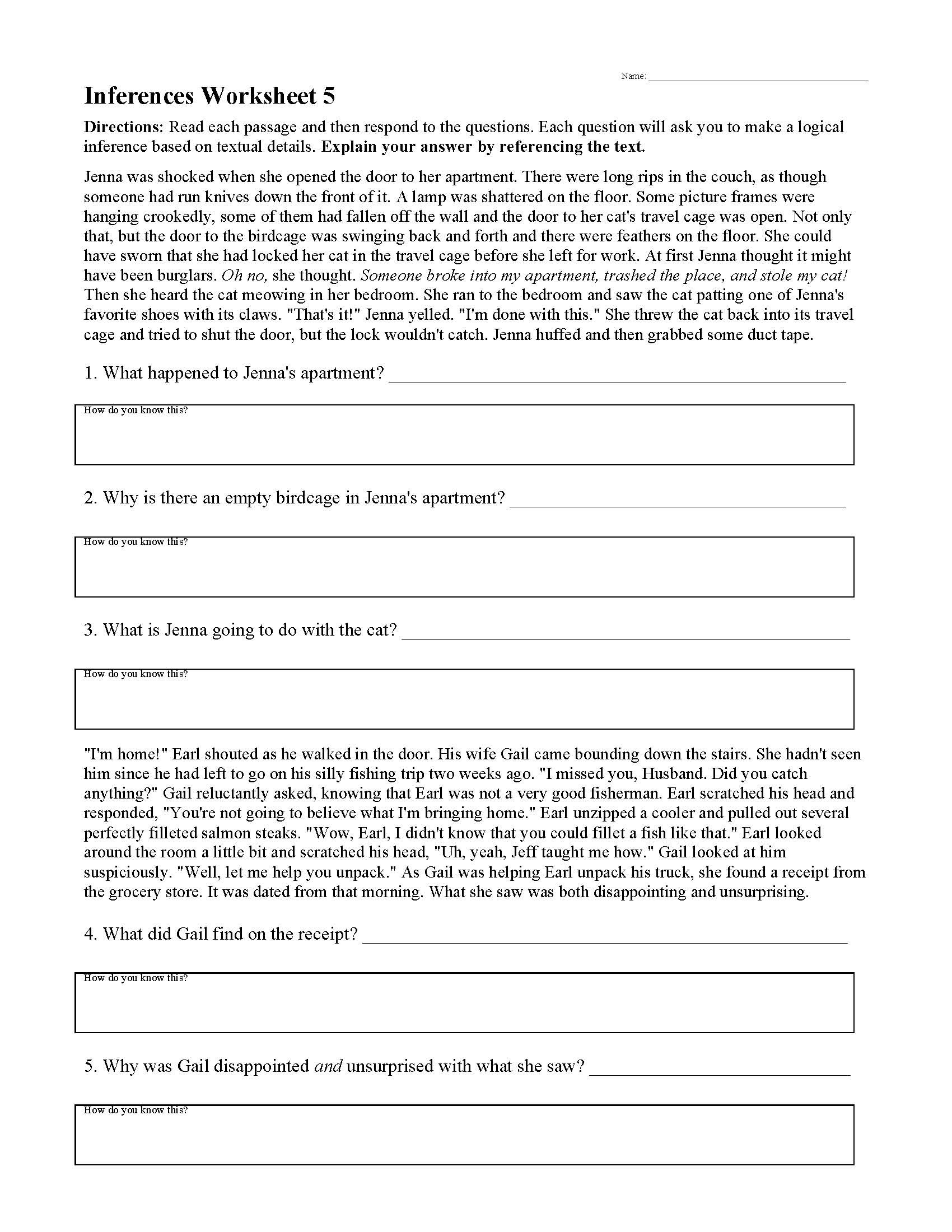 Theme Worksheets for Middle School Inferences Worksheets
