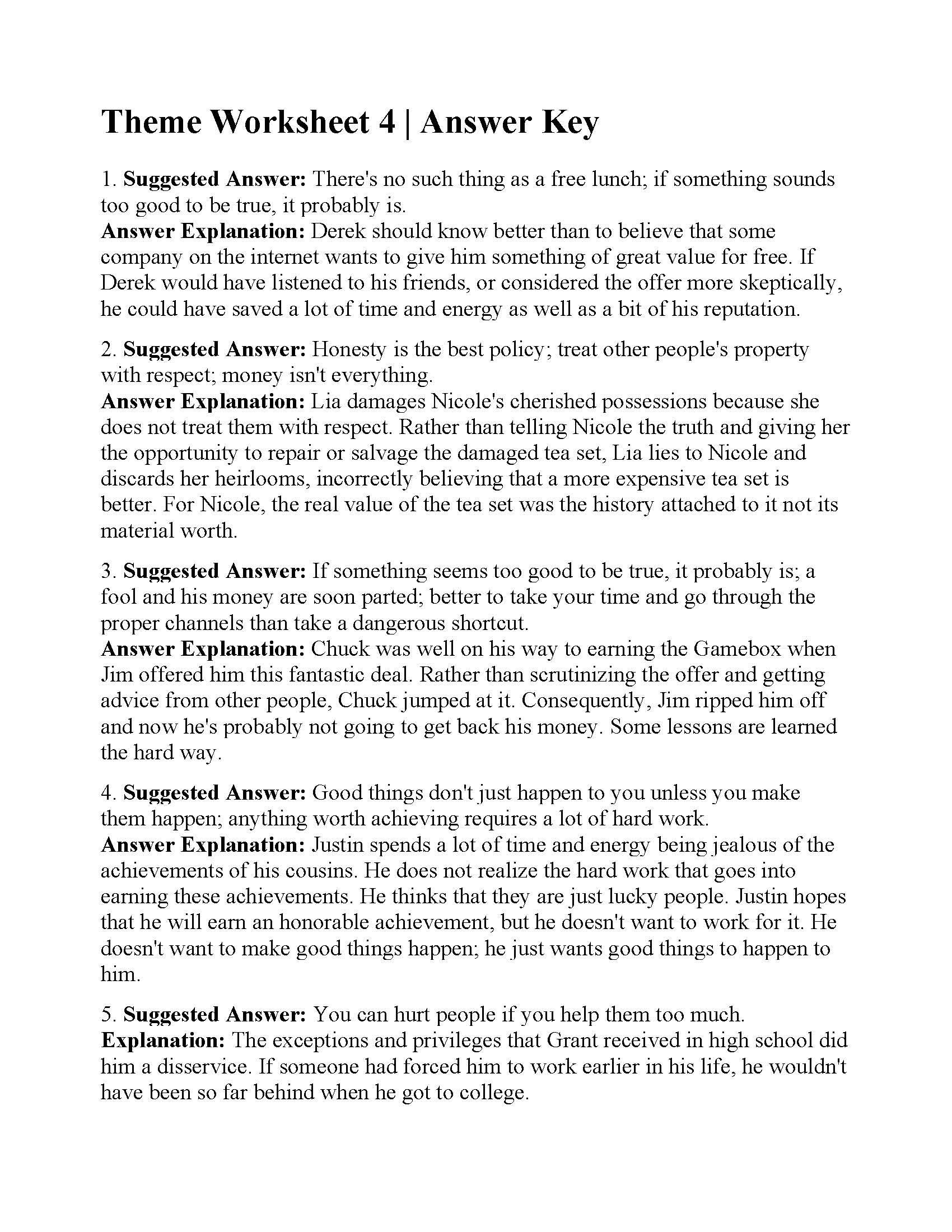 Theme Worksheets for Middle School This is the Answer Key for the theme Worksheet 4