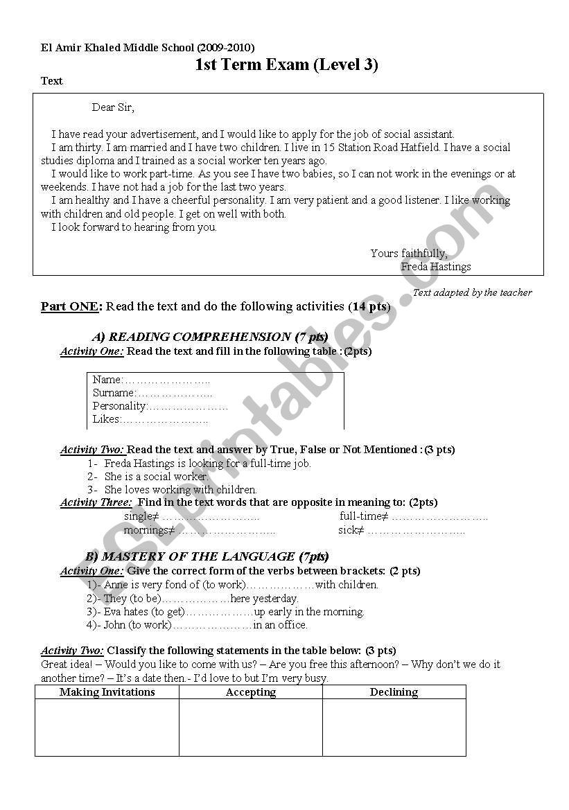 Theme Worksheets Middle School 1st Term Exam Level 3 Middle School Esl Worksheet by