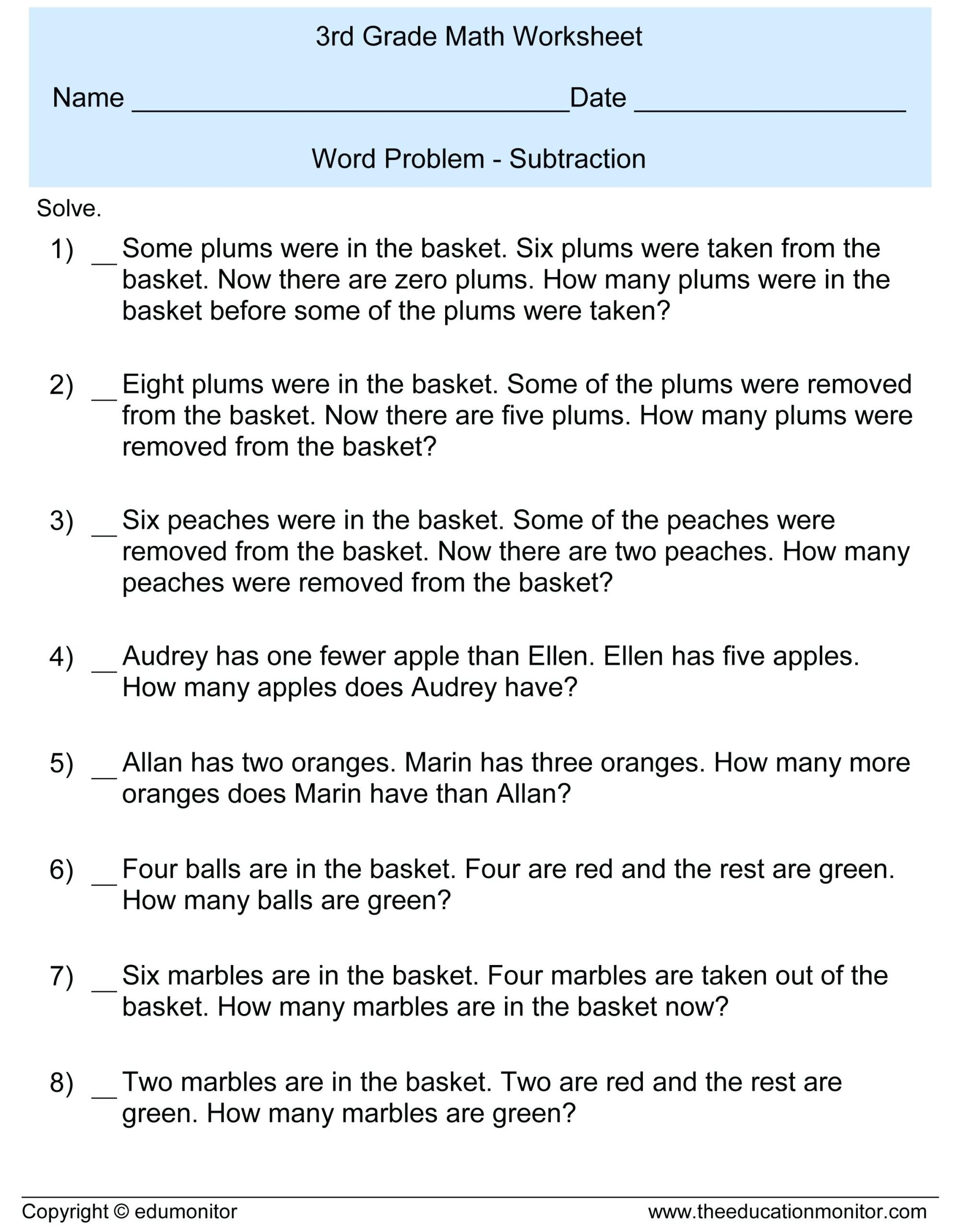 Third Grade Fraction Word Problems 3rd Grade Subtraction Word Problems Free Math Worksheets and