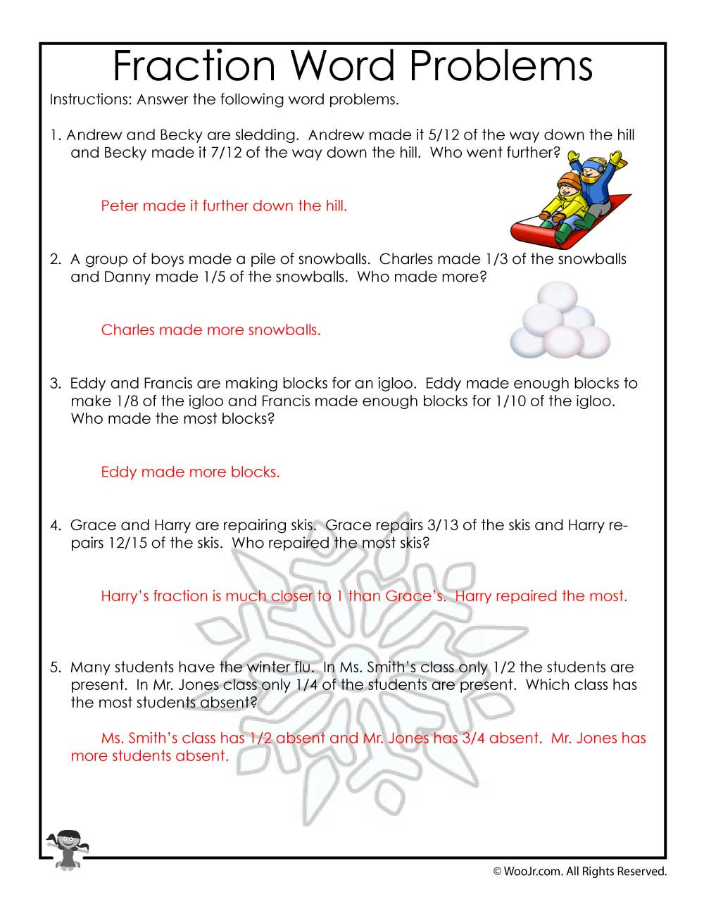 Third Grade Fraction Word Problems January Fractions Word Problems Worksheet Answer Key