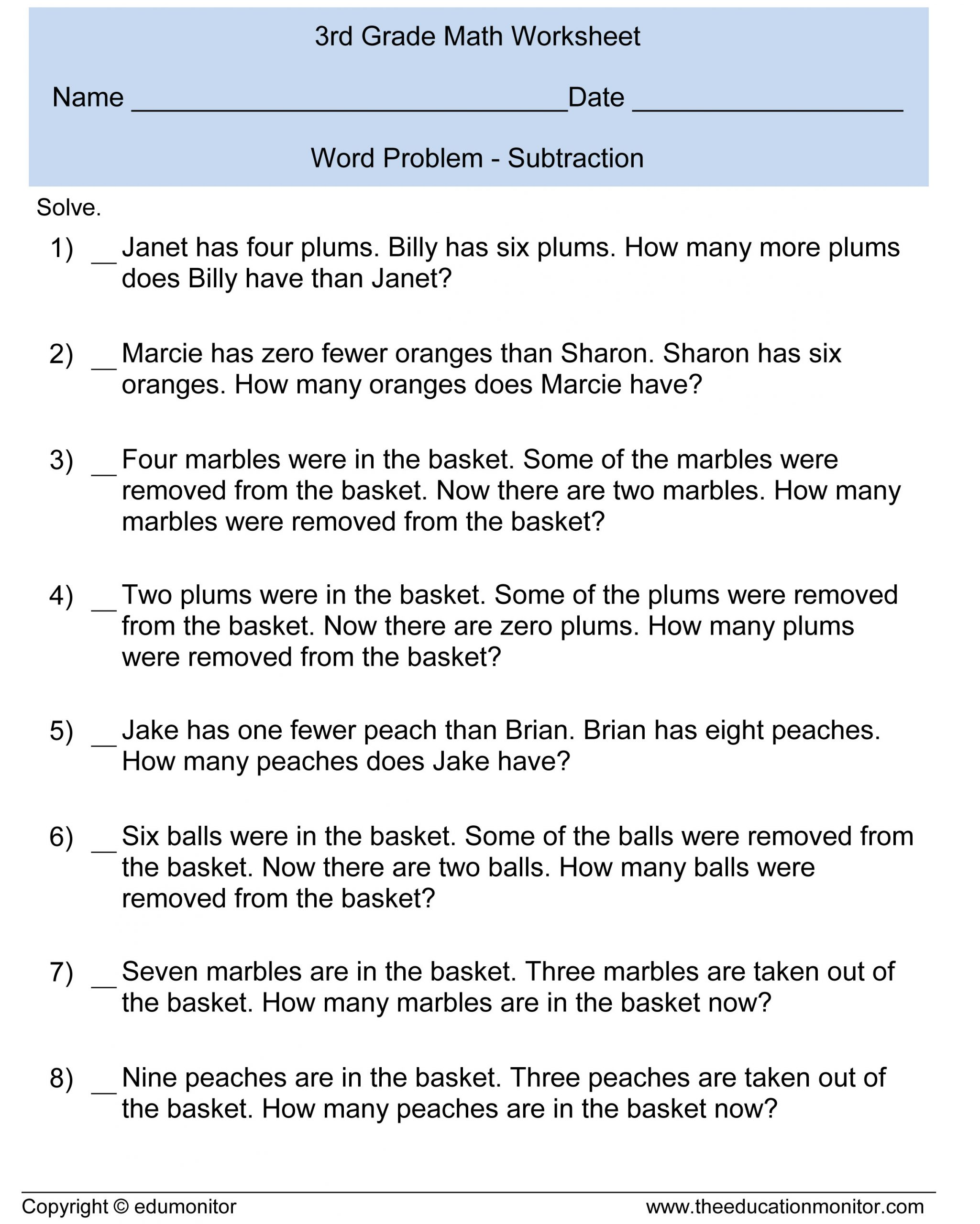 Third Grade Fraction Word Problems Subtraction Word Problems 3rd Grade for Your Kids