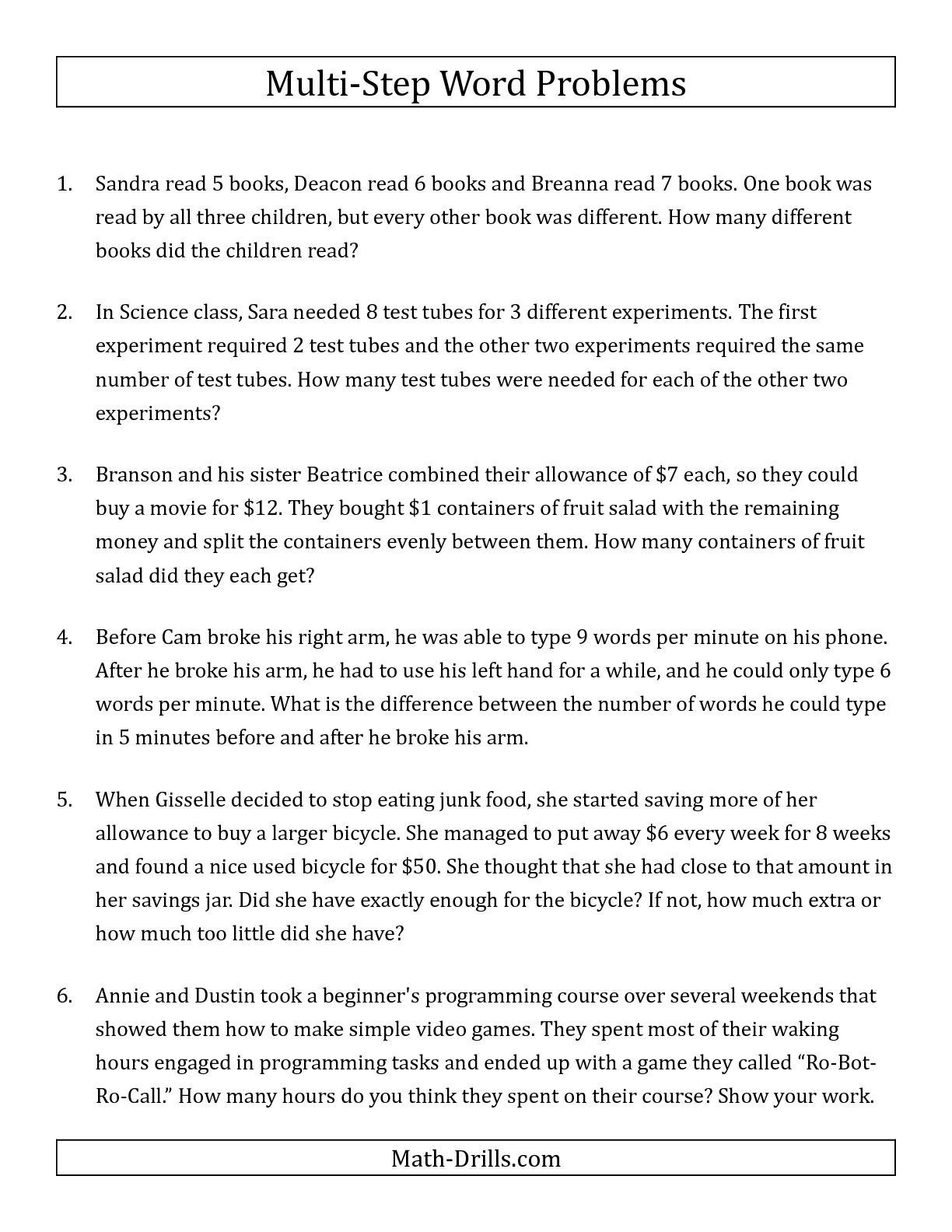 Third Grade Fraction Word Problems the Easy Multi Step Word Problems Math Worksheet From the