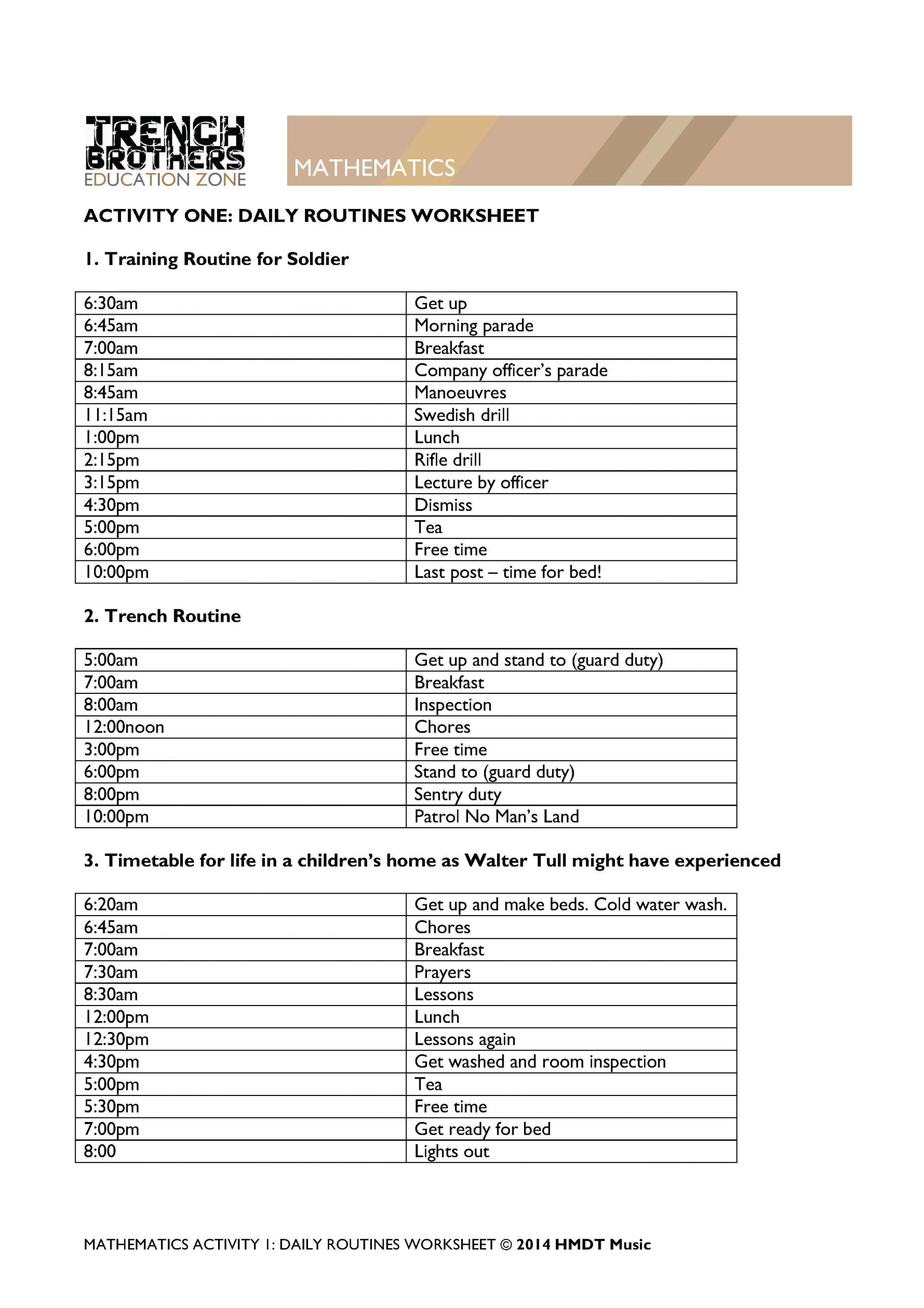 Timeline Worksheets for Middle School Ww1 Maths Activities