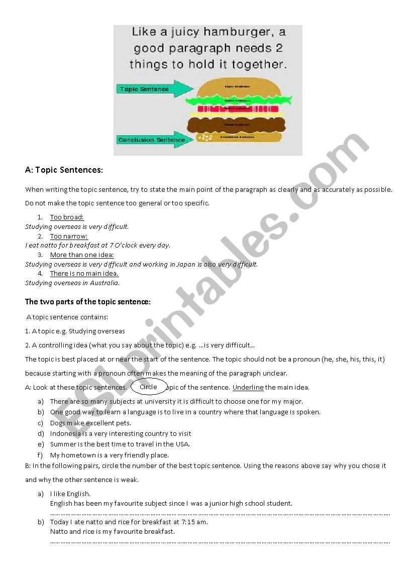 Topic Sentence Worksheets 3rd Grade topic Supporting and Concluding Sentences Esl Worksheet