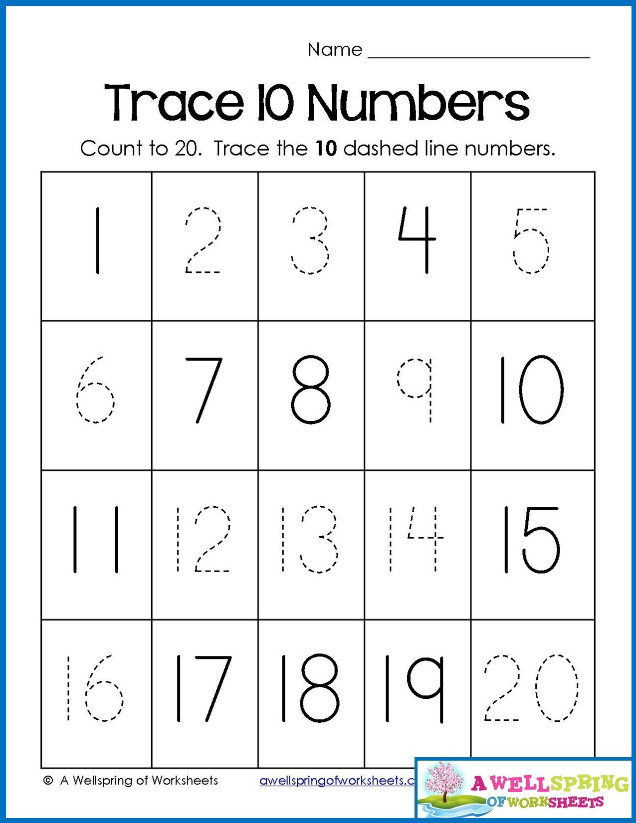 Tracing Numbers 1 20 Printable 4 Counting Worksheets Preschool 1 20 Worksheets Schools