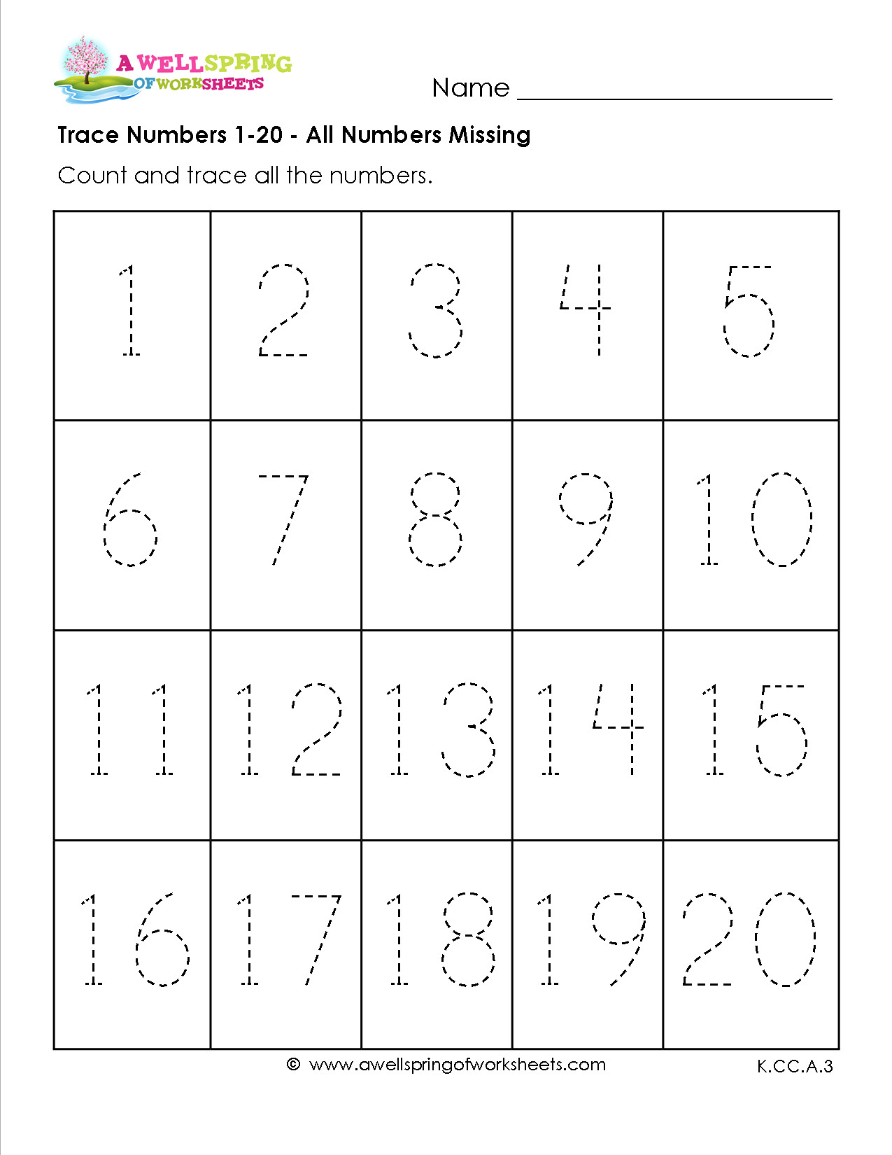 Tracing Numbers 1 20 Printable Number Tracing 1 20 Worksheet Generator