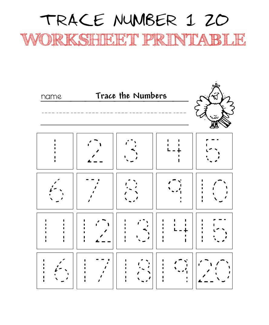 Tracing Numbers 1 20 Printable Trace Number 1 20 Worksheet Printable Trace Numbers 1 20