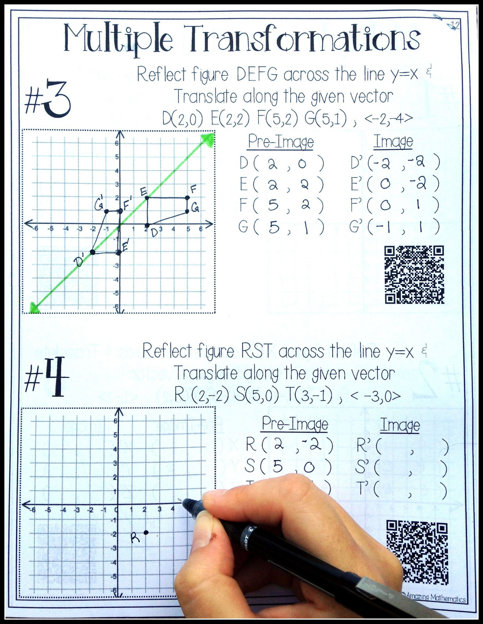 Transformation Math Worksheets 2 Translations Math Worksheets 2 In 2020 with Images