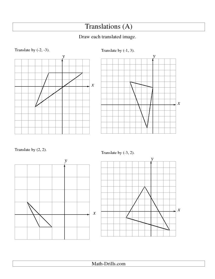 Transformation Math Worksheets Translation Of 3 Vertices Up to 3 Units A Math Worksheet