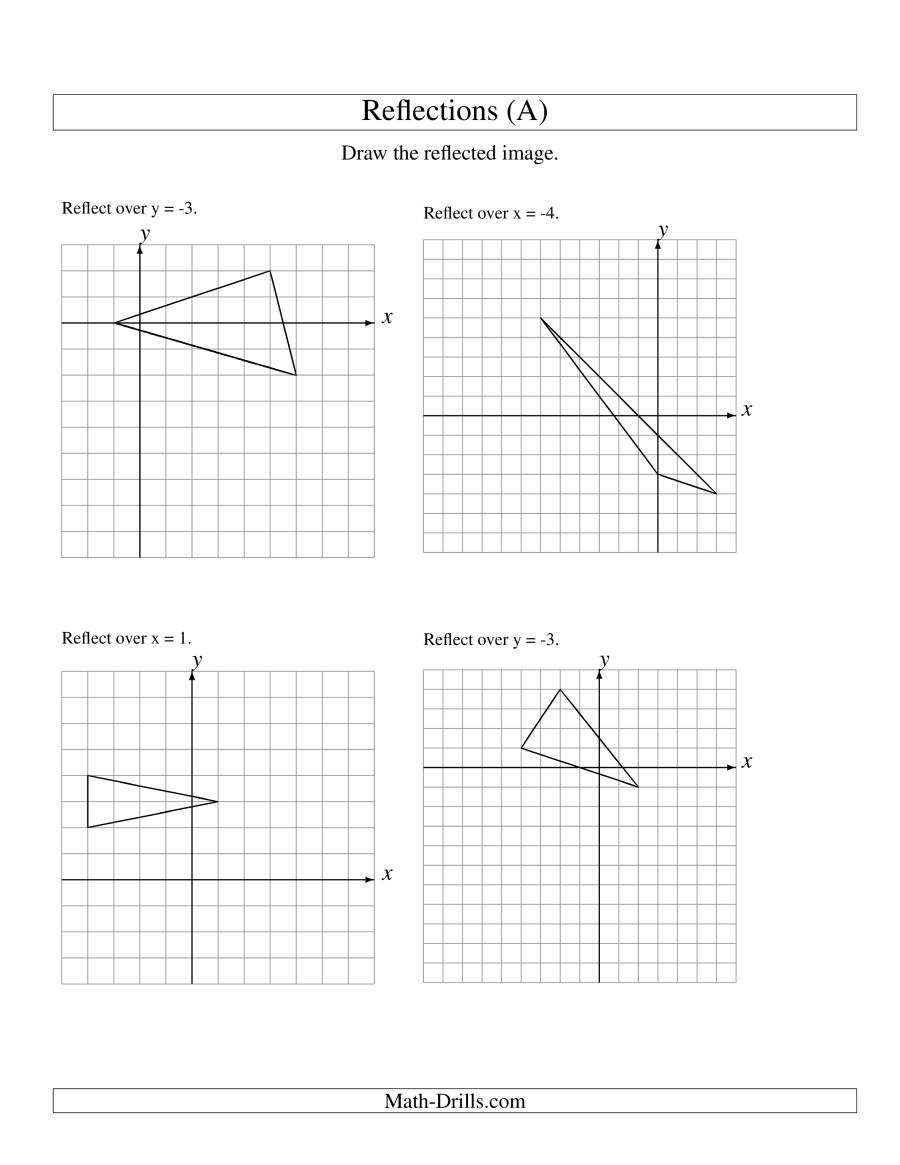 Transformations Math Worksheets Reflection Of 3 Vertices Over Various Lines A