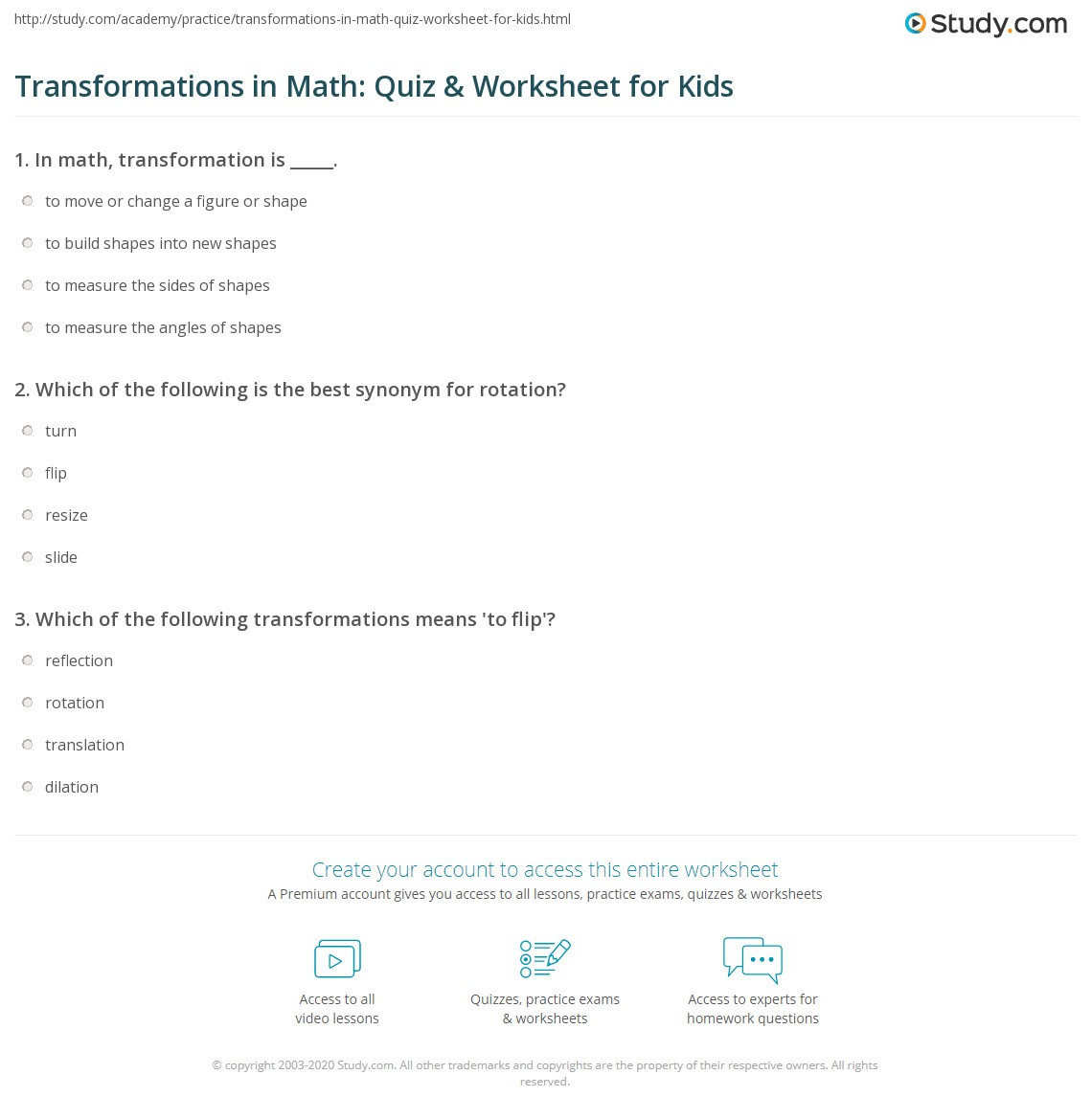Transformations Math Worksheets Transformations In Math Quiz & Worksheet for Kids