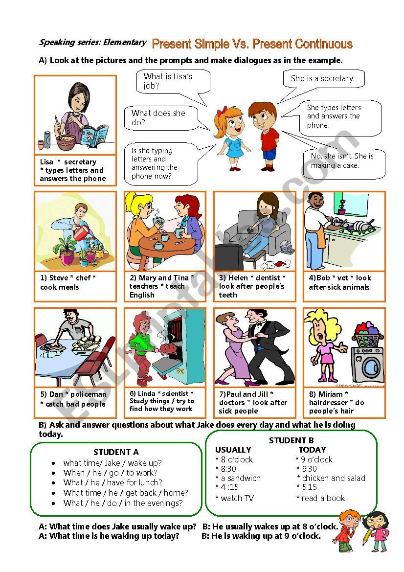 Typing Worksheets Printables Speaking Series Elementray Present Simple Vs Continuous