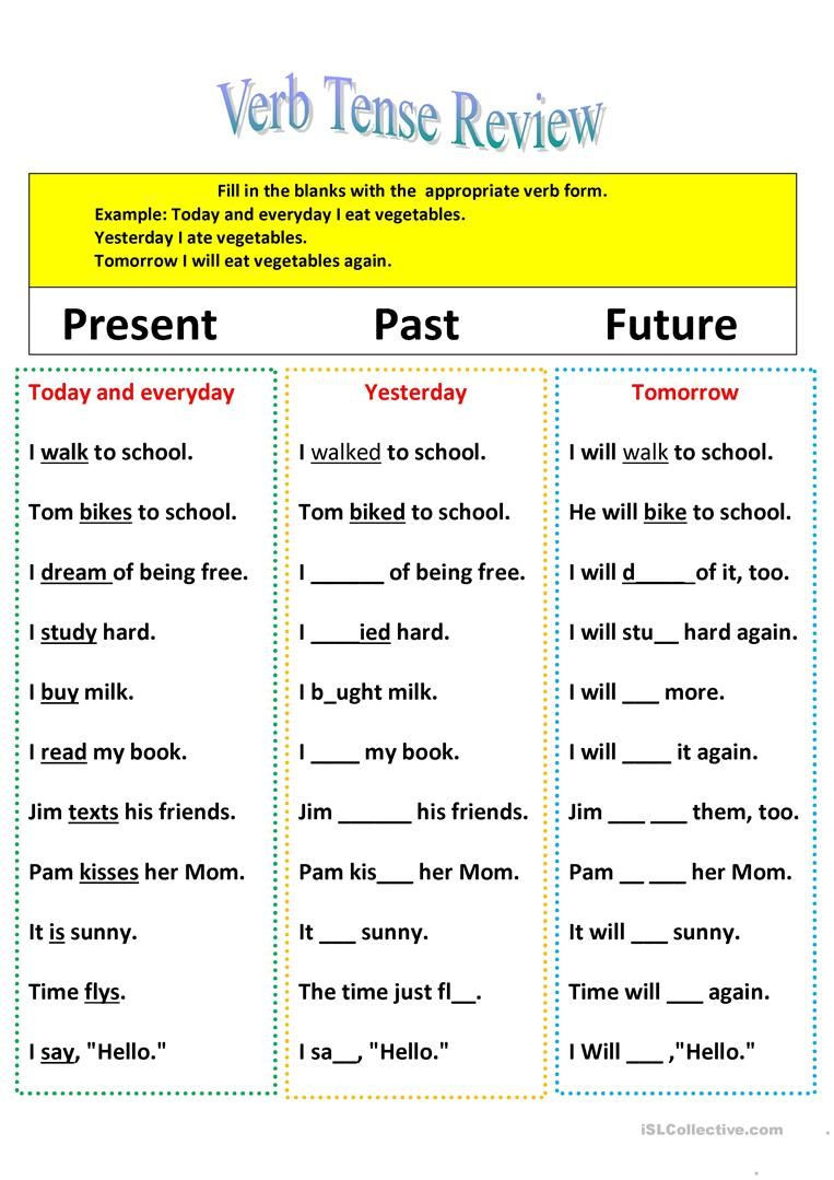 Verb Tense Worksheets 3rd Grade Revision Of Verb Tenses Present Past and Future Worksheet