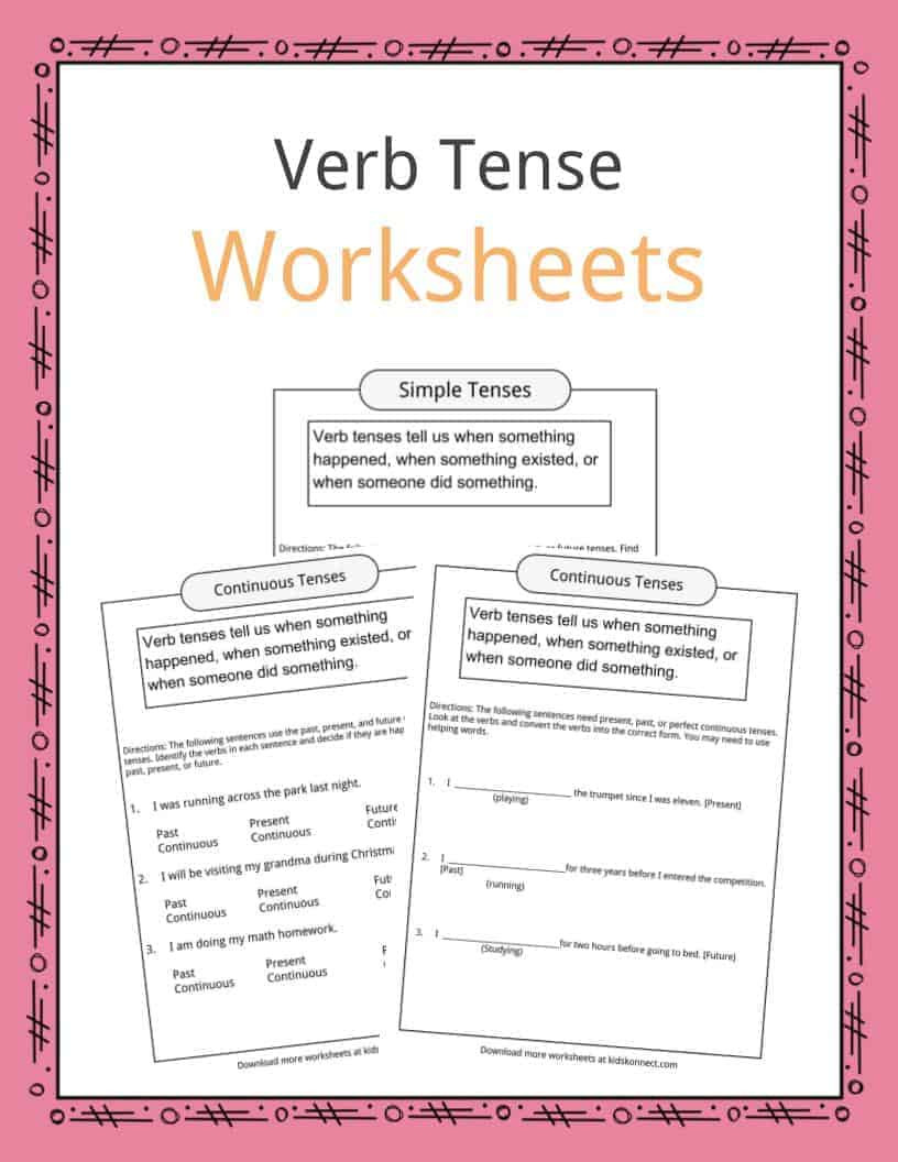 Verb Tense Worksheets 3rd Grade Verb Tense Worksheets Examples & Definition for Kids