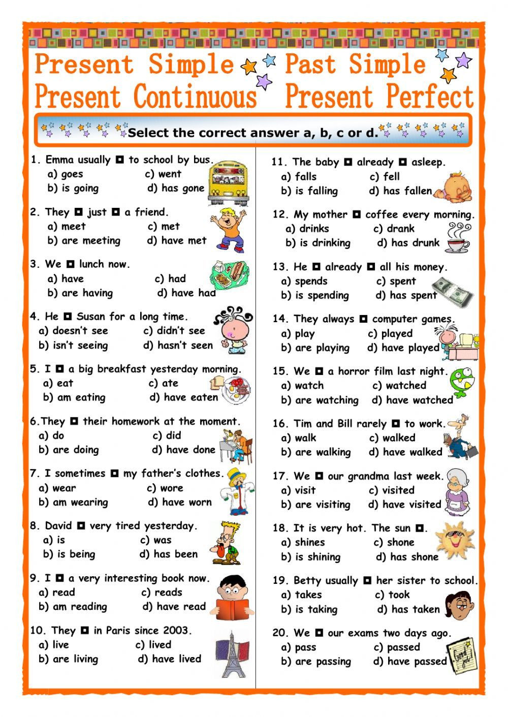 Verb Tense Worksheets 3rd Grade Verb Tenses Interactive and Able Worksheet You Can