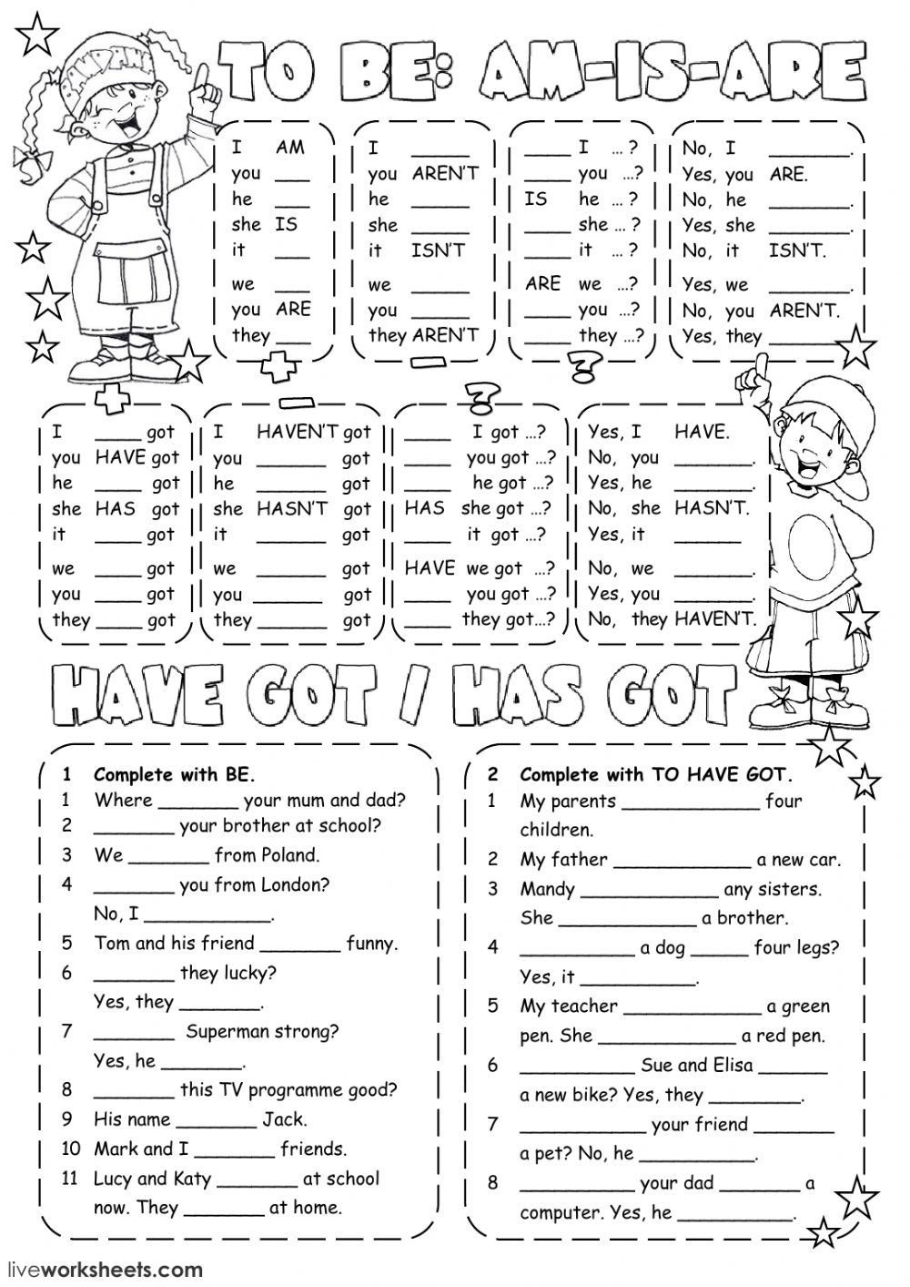 Verb Tense Worksheets 3rd Grade Verb to Be Interactive and Able Worksheet You Can