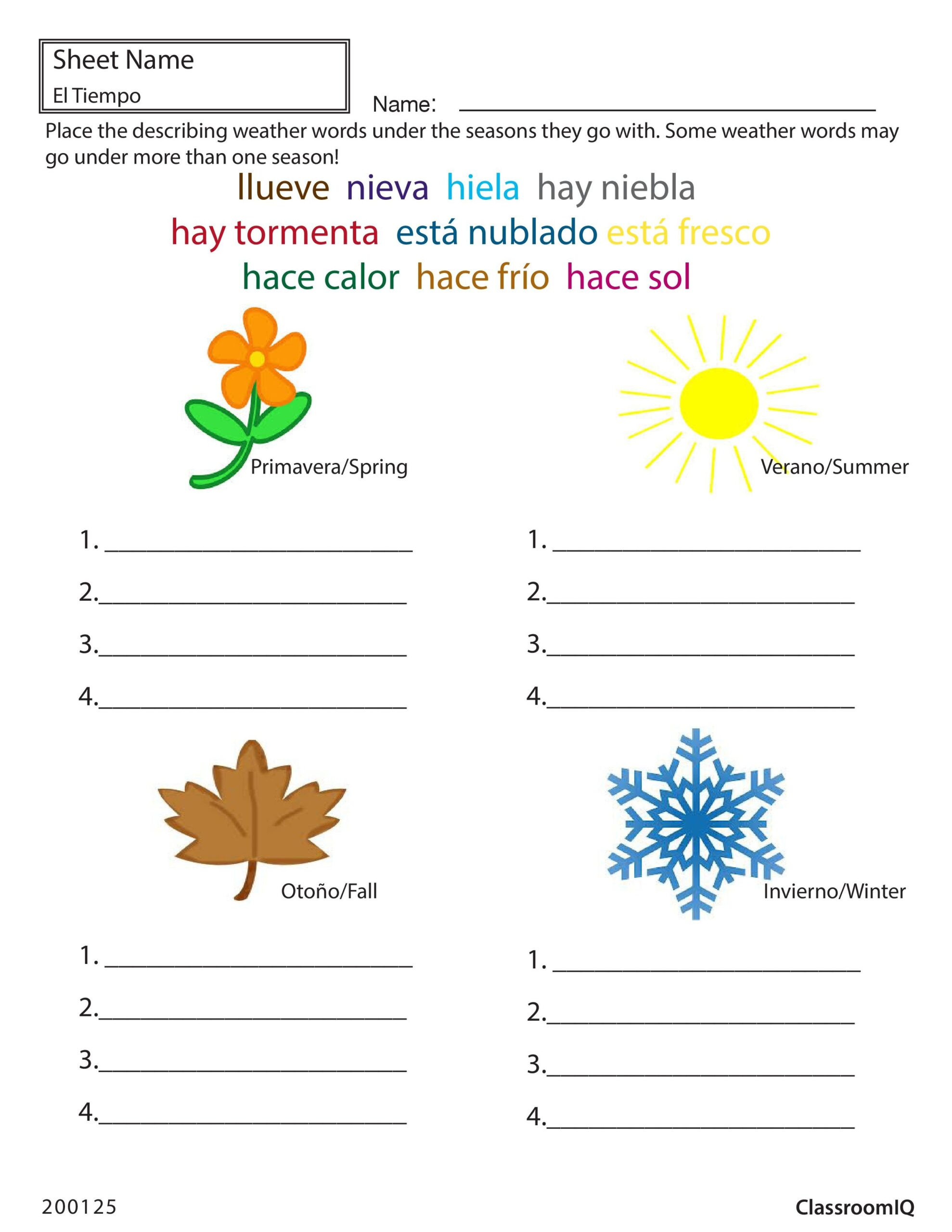 Weather Worksheets for Second Grade Weather and Seasons In Spanish Worksheets Mathematics Grade