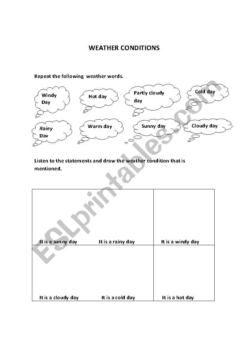 Weather Worksheets for Second Grade Weather Conditions Second Grade Esl Worksheet by La Tica