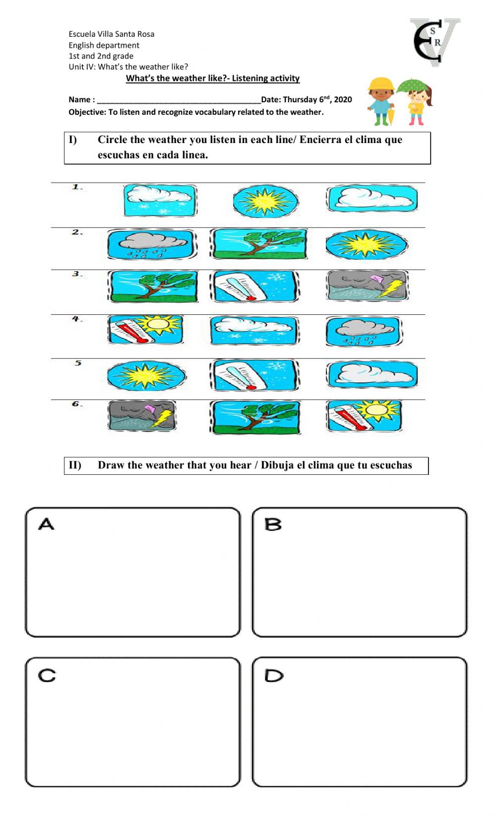 Weather Worksheets for Second Grade What S the Weather Like 3 Interactive Worksheet