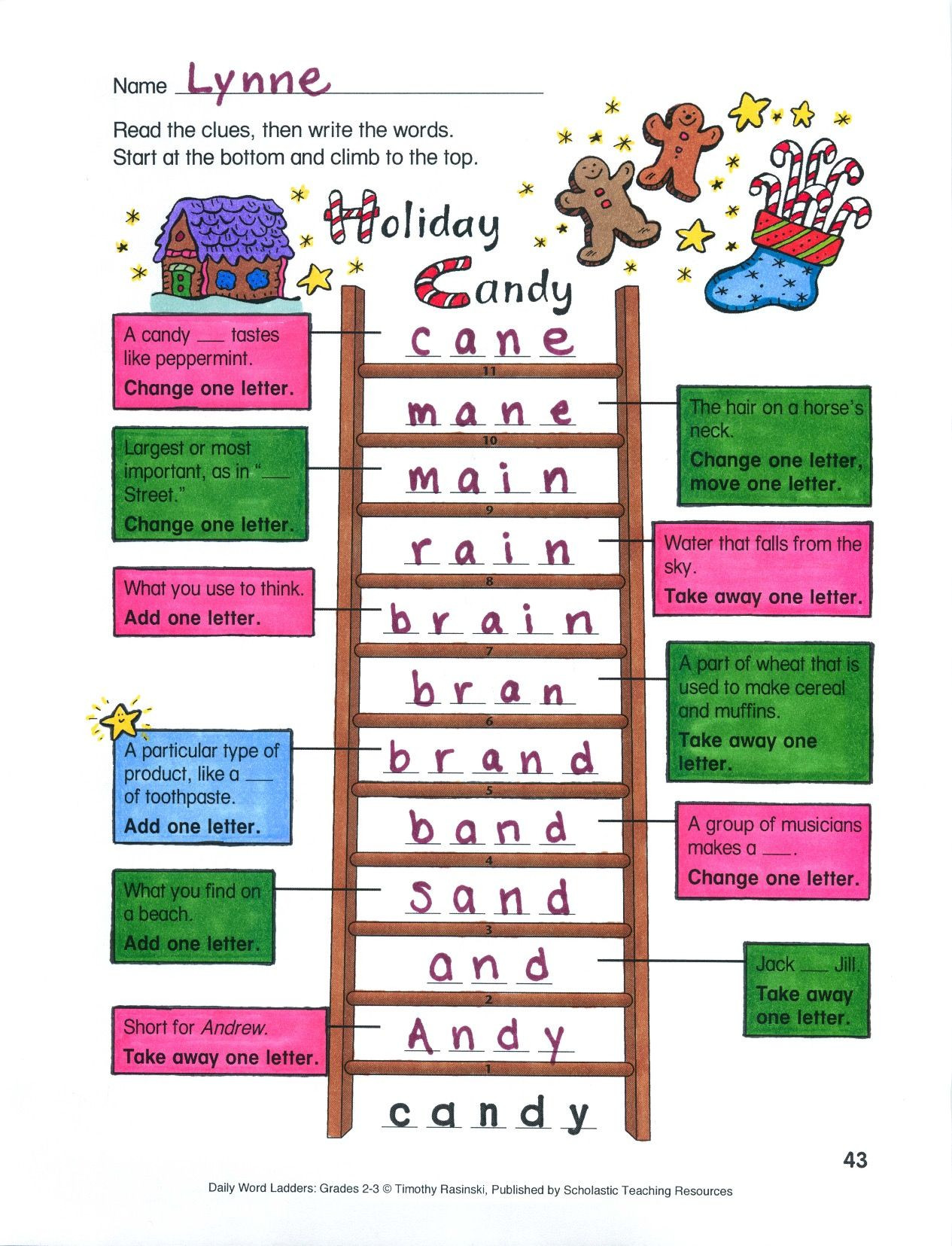 Word Ladders Middle School Students Begin at the Bottom Of the Ladder then Add Remove